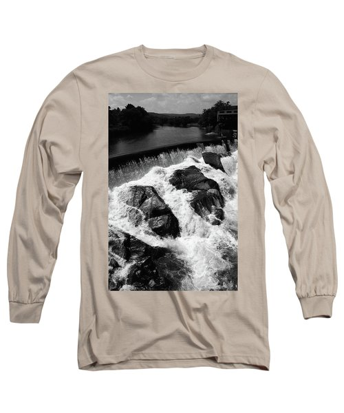 Long Sleeve T-Shirt featuring the photograph Quechee, Vermont - Falls 2 Bw by Frank Romeo