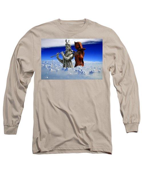 Long Sleeve T-Shirt featuring the digital art Radha Krishan  by Bliss Of Art