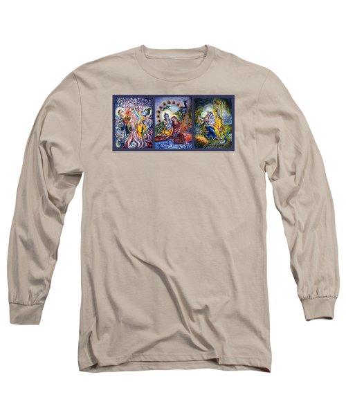 Radha Krishna Cosmic Leela Long Sleeve T-Shirt by Harsh Malik