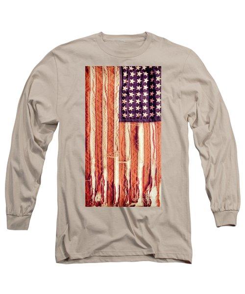 Long Sleeve T-Shirt featuring the photograph Ragged American Flag by Jill Battaglia