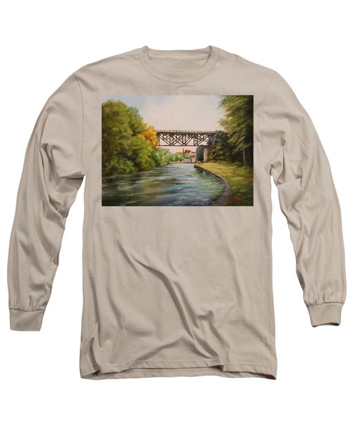 Railroad Bridge Over Erie Canal Long Sleeve T-Shirt