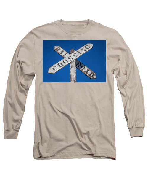 Railroad Crossing Wooden Sign Long Sleeve T-Shirt