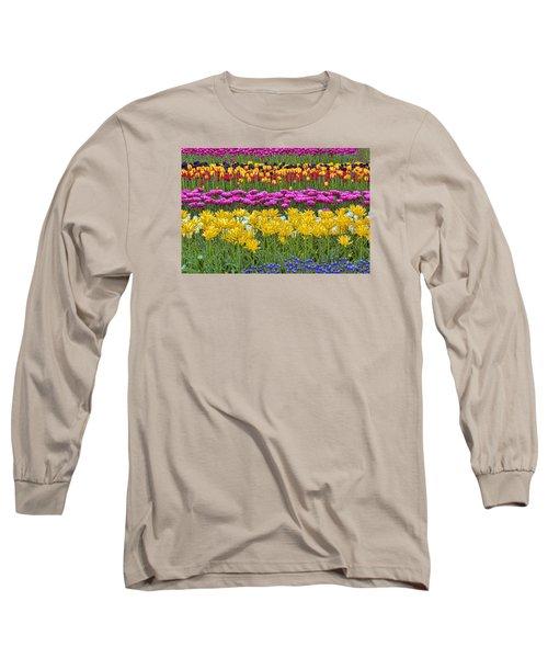 Rainbow Flowers Long Sleeve T-Shirt by Nadia Sanowar