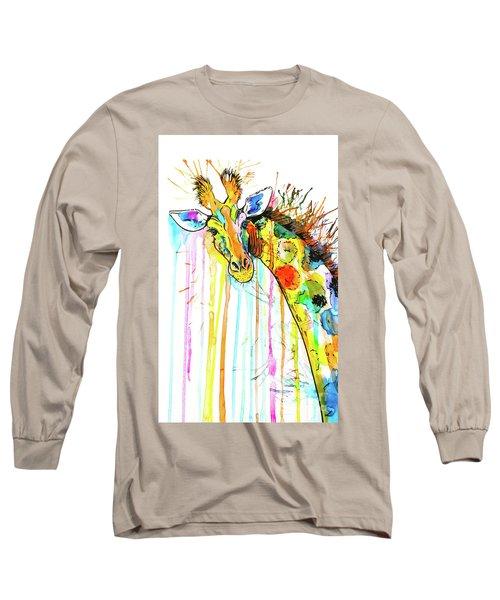 Long Sleeve T-Shirt featuring the painting Rainbow Giraffe by Zaira Dzhaubaeva
