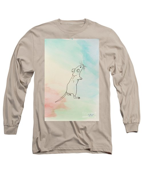 Rainbow Mouse Long Sleeve T-Shirt by Stefanie Forck