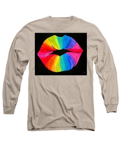 Rainbow Smooch Long Sleeve T-Shirt by Marisela Mungia