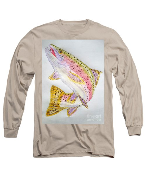 Rainbow Trout Presented In Colored Pencil Long Sleeve T-Shirt by Scott D Van Osdol