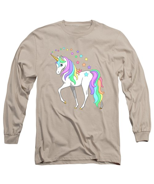 Rainbow Unicorn Clouds And Stars Long Sleeve T-Shirt by Crista Forest