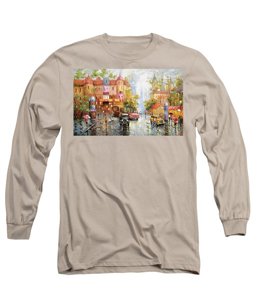 Long Sleeve T-Shirt featuring the painting Rainy Day 3 by Dmitry Spiros