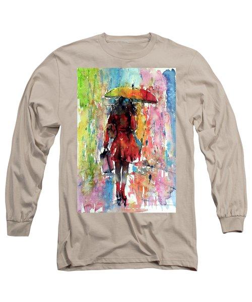 Long Sleeve T-Shirt featuring the painting Rainy Day by Kovacs Anna Brigitta
