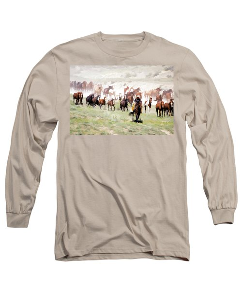 Raising Dust On The Great American Horse Drive In Maybell Colorado Long Sleeve T-Shirt