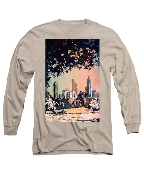 Long Sleeve T-Shirt featuring the painting Raleigh Skyline V by Ryan Fox