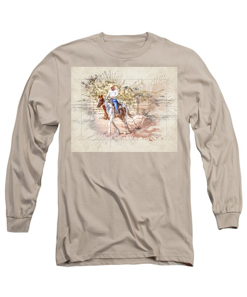Ranch Rider Digital Art-b1 Long Sleeve T-Shirt