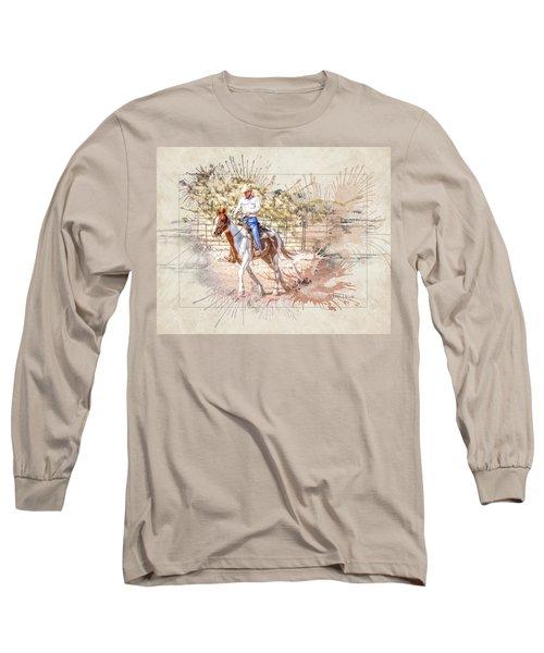 Ranch Rider Digital Art-b1 Long Sleeve T-Shirt