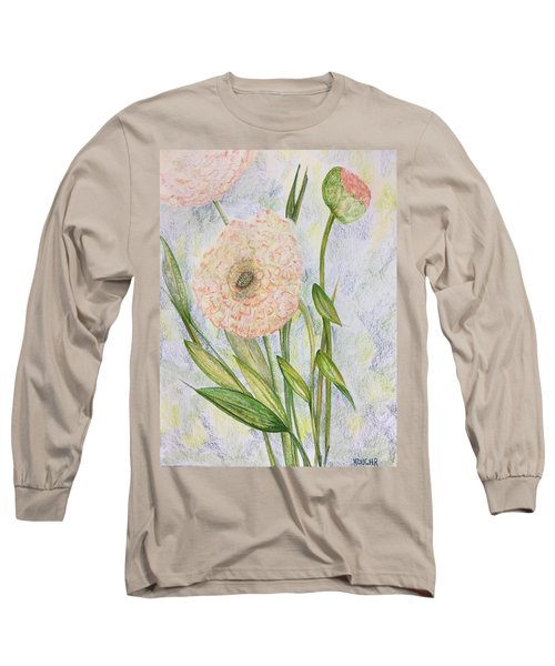 Long Sleeve T-Shirt featuring the drawing Ranunculus by Norma Duch