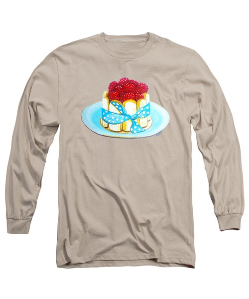 Raspberry Finger Biscuit Dessert Illustration Long Sleeve T-Shirt by Sonja Taljaard
