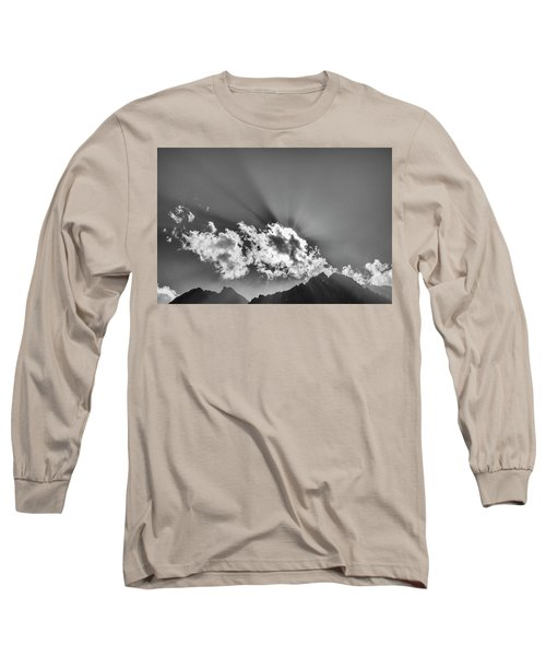 Long Sleeve T-Shirt featuring the photograph Rays Through Clouds, Keylong, 2005 by Hitendra SINKAR