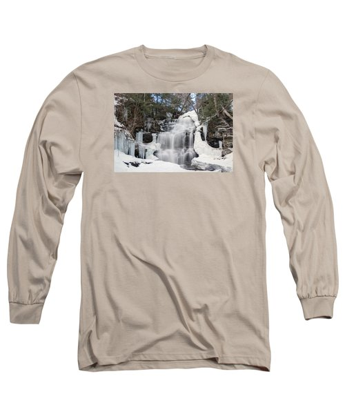 Long Sleeve T-Shirt featuring the photograph Receding Winter Ice At Ganoga Falls by Gene Walls