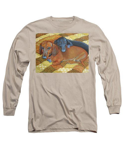 Red And Black Dachshunds - Best Buds Long Sleeve T-Shirt by Rebecca Korpita