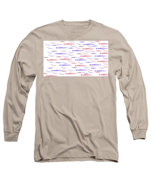 Red And Blue Fish Pattern Long Sleeve T-Shirt