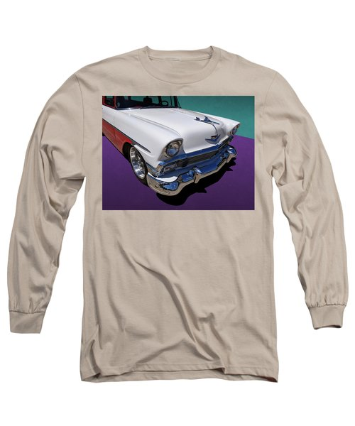 Red And White 1950s Chevrolet Wagon Long Sleeve T-Shirt