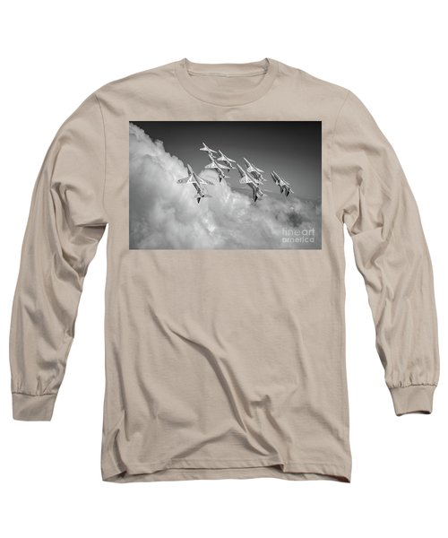 Long Sleeve T-Shirt featuring the photograph Red Arrows Sky High Bw Version by Gary Eason