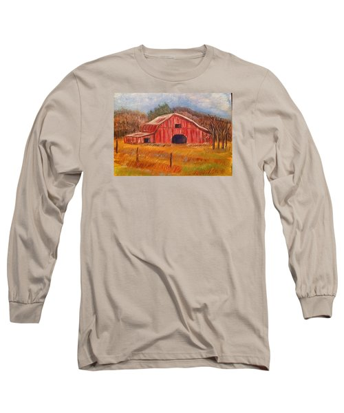 Red Barn Painting Long Sleeve T-Shirt by Belinda Lawson
