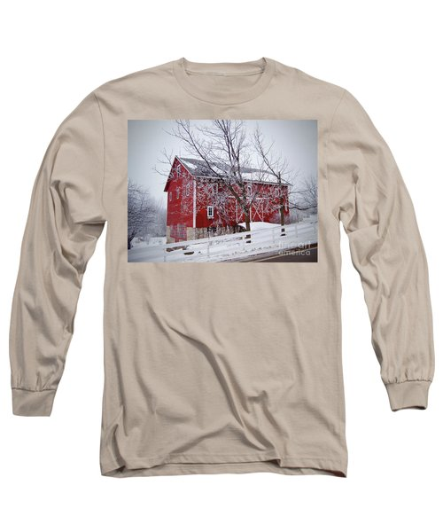 Red Barn Circa 1876 Long Sleeve T-Shirt by Sue Stefanowicz