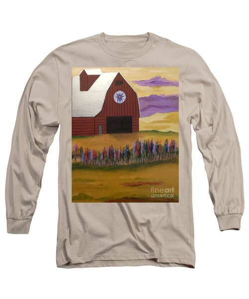 Red Barn Golden Landscape Long Sleeve T-Shirt