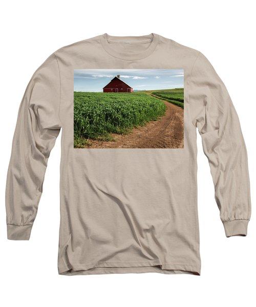 Red Barn In Green Field Long Sleeve T-Shirt