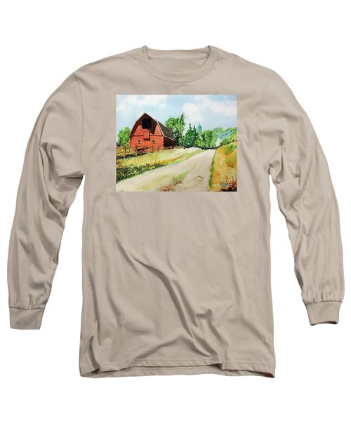 Red Barn Near Steamboat Springs Long Sleeve T-Shirt by Tom Riggs