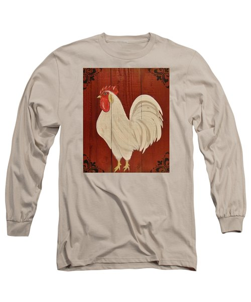 Red Barnyard Rooster Long Sleeve T-Shirt by Cindy Micklos