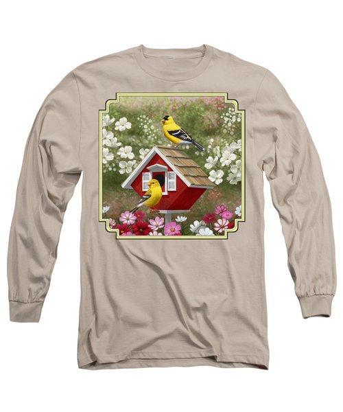 Red Birdhouse And Goldfinches Long Sleeve T-Shirt by Crista Forest