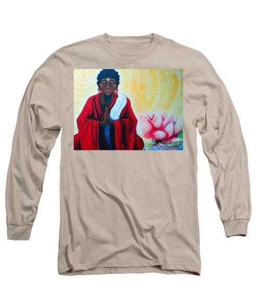 Red Buddha Lotus Long Sleeve T-Shirt by Jackie Carpenter
