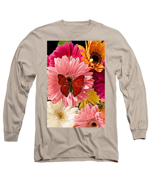 Red Butterfly On Bunch Of Flowers Long Sleeve T-Shirt