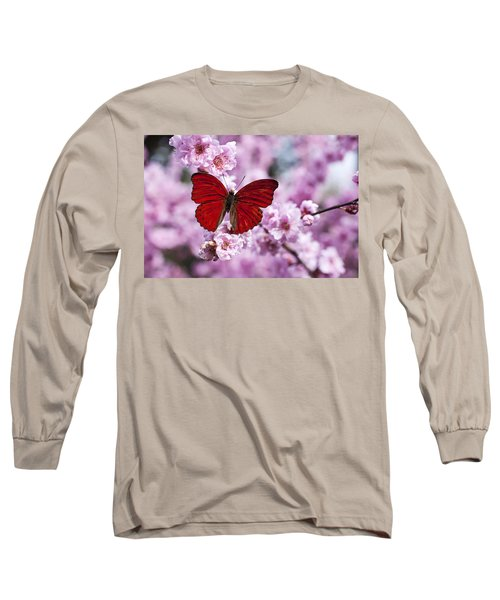 Red Butterfly On Plum  Blossom Branch Long Sleeve T-Shirt