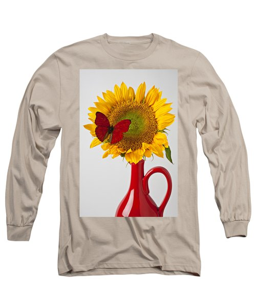 Red Butterfly On Sunflower On Red Pitcher Long Sleeve T-Shirt
