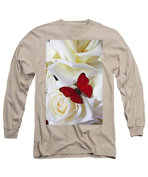 Red Butterfly On White Roses Long Sleeve T-Shirt by Garry Gay