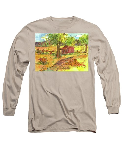 Long Sleeve T-Shirt featuring the painting Red Cabin In Autumn  by Cathie Richardson
