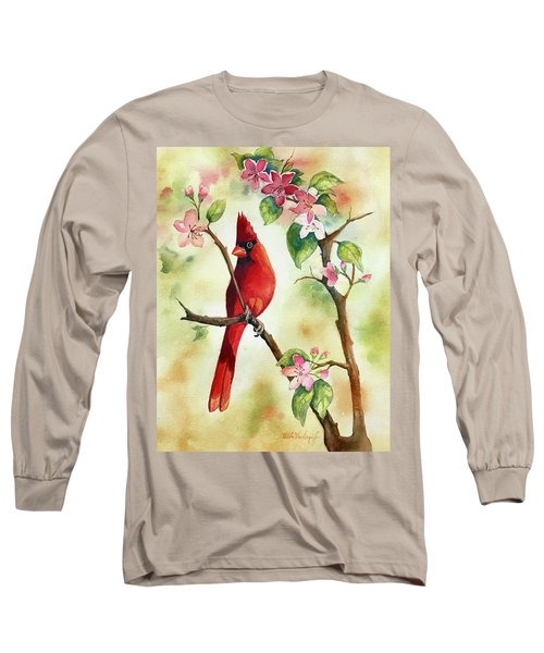 Red Cardinal And Blossoms Long Sleeve T-Shirt
