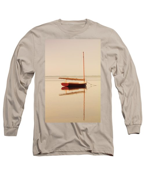 Red Catboat On Misty Harbor Long Sleeve T-Shirt