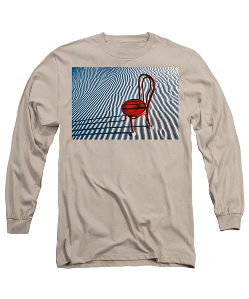 Red Chair In Sand Long Sleeve T-Shirt by Garry Gay