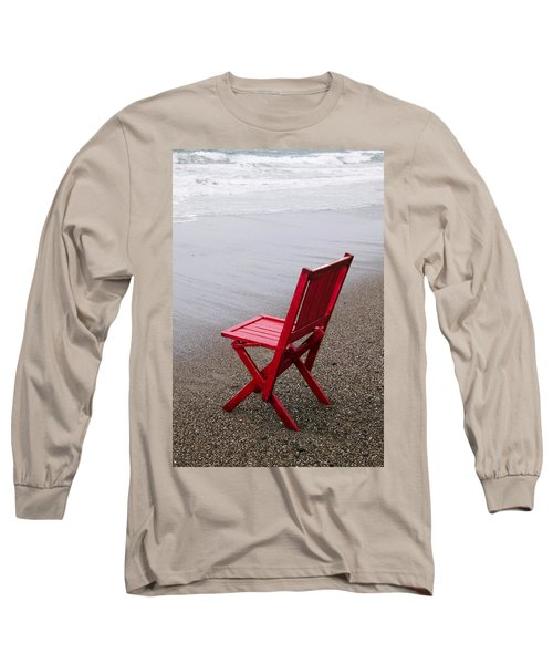 Red Chair On The Beach Long Sleeve T-Shirt