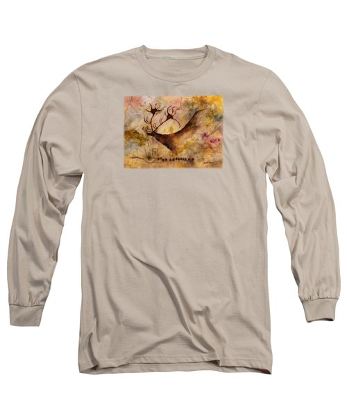 Long Sleeve T-Shirt featuring the painting Red Deer by Hailey E Herrera