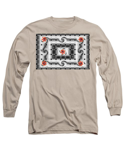 Red Floral Fractal Long Sleeve T-Shirt