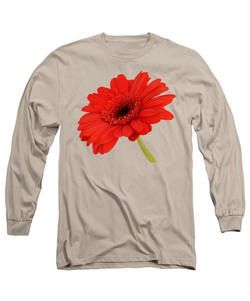 Red Gerbera Daisy 2 Long Sleeve T-Shirt by Scott Carruthers
