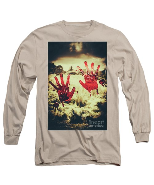 Red Handprints On Glass Of Windows Long Sleeve T-Shirt