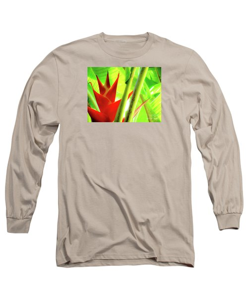 Red Heliconia Long Sleeve T-Shirt