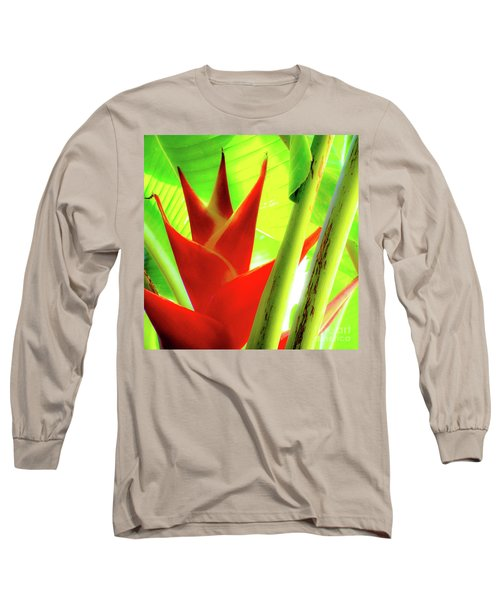 Red Heliconia Plant Long Sleeve T-Shirt
