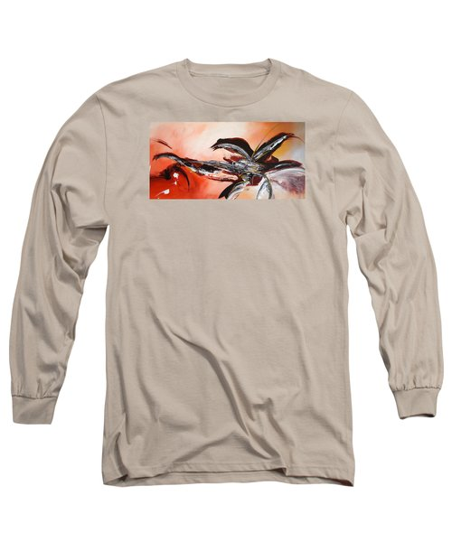 Red Ikebana Long Sleeve T-Shirt by Theresa Marie Johnson